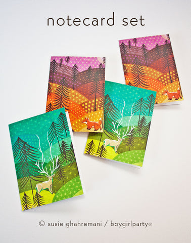 Sunrise / Sunset Art Note Cards (Set of 4 Notecards with envelopes)