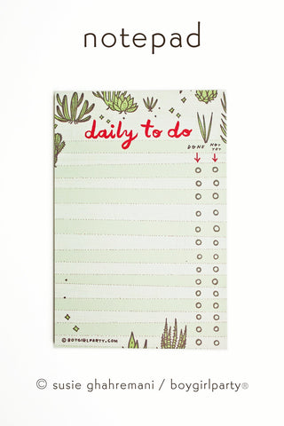 Succulent To Do List - Cactus Notepad - Daily To Do List Notepad by boygirlparty