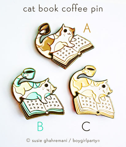 Cat Book Coffee Enamel Pin by boygirlparty - illustrated by Susie Ghahremani / boygirlparty.com // http://shop.boygirlparty.com