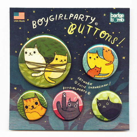 Cat Button Pack by Susie Ghahremani / boygirlparty.com