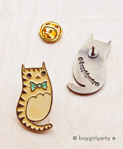 Bowtie Cat Enamel Pin by Susie Ghahremani / boygirlparty.com