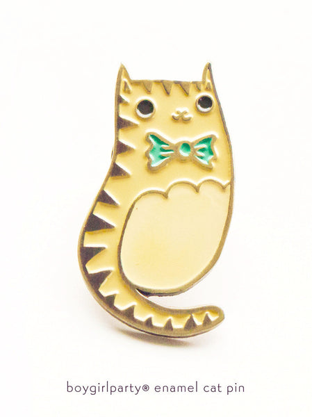 Bowtie Cat Enamel Pin by Susie Ghahremani / boygirlparty com |