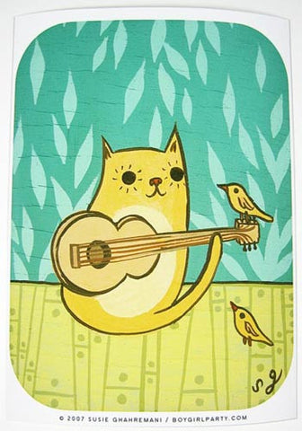 Cat Bird Art Print by Susie Ghahremani / boygirlparty.com