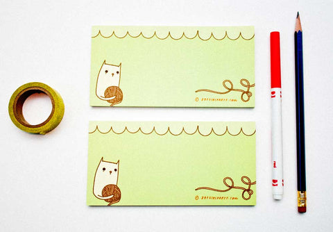 Green Kitty / Yarn Notepad by Susie Ghahremani / boygirlparty.com