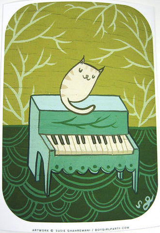 Cat Piano Art Print by Susie Ghahremani / boygirlparty.com