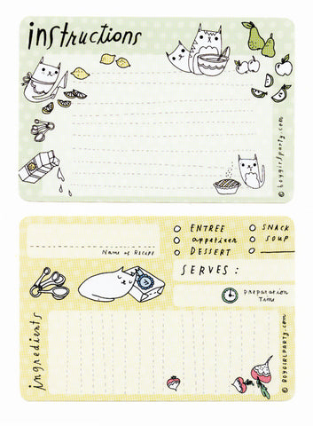 Cat Recipe Cards by boygirlparty - http://shop.boygirlparty.com