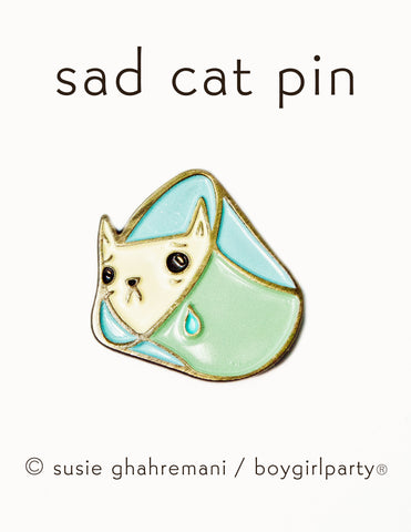 Sad Cat Pin - Cone of Shame Pin - Cat Enamel Pin - Enamel Cat Pin by boygirlparty