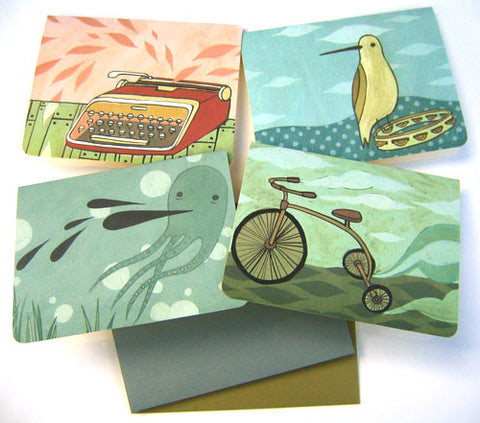 Offset / Die Cut Cards (Set of 4) by Susie Ghahremani / boygirlparty.com