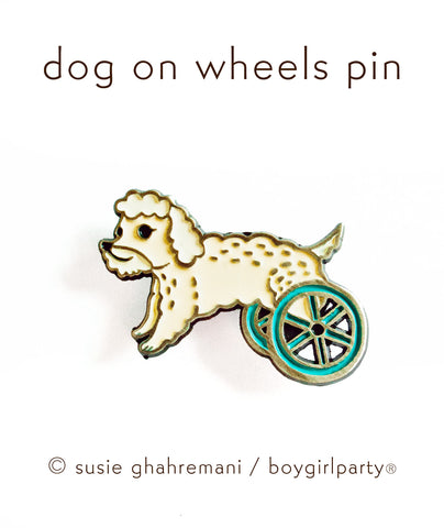 Dog on Wheels Enamel Pin by boygirlparty