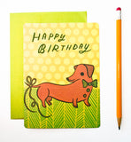Dachshund Birthday Card (Belated Birthday Card) by Susie Ghahremani / boygirlparty.com