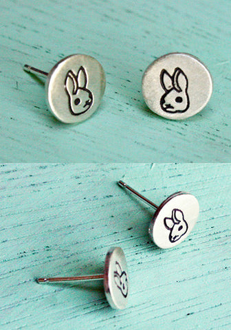 Silver Bunny Earrings by Susie Ghahremani / boygirlparty.com