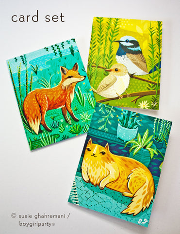 Flora + Fauna Notecard Set (of 3) – Colorfully Illustrated Cards by Susie Ghahremani