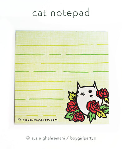 Floral Cat Notepad - Kawaii Cat Stationery by boygirlparty