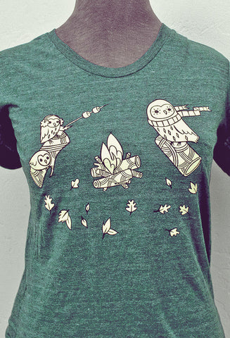 Campfire Owls T-Shirt (Forest Green) by Susie Ghahremani / boygirlparty.com