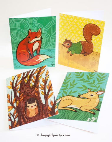Forest Animal Notecard Set by Susie Ghahremani / boygirlparty.com