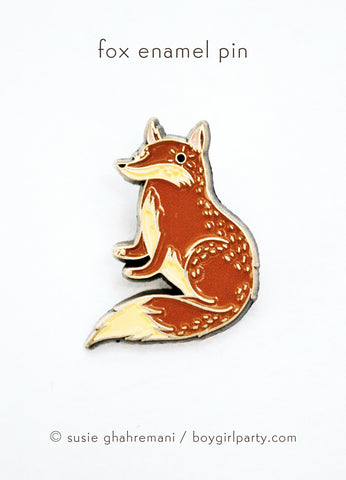 Red Fox Enamel Pin by Susie Ghahremani / boygirlparty® from http://shop.boygirlparty.com