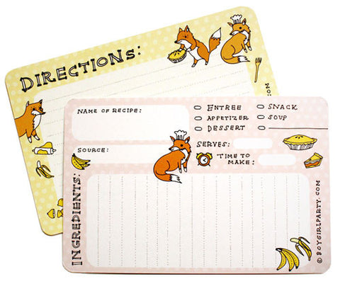 Fox Recipe Cards (Set of 10) by Susie Ghahremani / boygirlparty.com