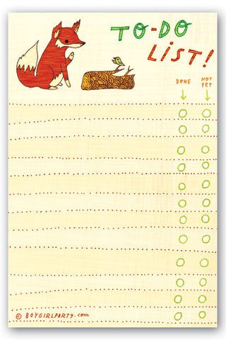 Fox To-Do List Notepad by Susie Ghahremani / boygirlparty.com