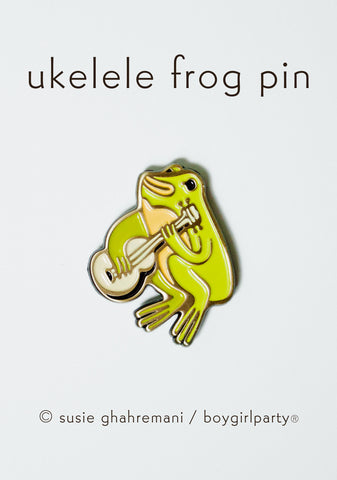 Ukulele Frog Enamel Pin -- Frog Guitar Lapel Pin by boygirlparty