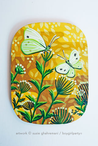 Cabbage White Butterfly / Moth Original Painting -- Artwork by Susie Ghahremani