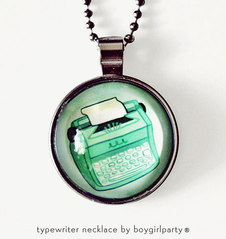 Mint Green Typewriter Necklace by Susie Ghahremani / boygirlparty.com