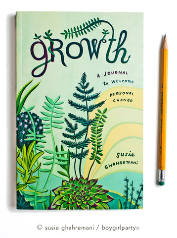 Growth -- guided personal development guided journal with prompts by Susie Ghahremani / boygirlparty
