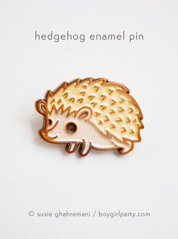 Hedgehog Enamel Pin by Susie Ghahremani / boygirlparty.com - http://shop.boygirlparty.com