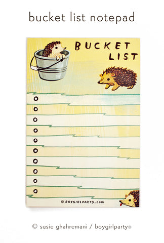 hedgehog bucket list notepad by susie ghahremani / boygirlparty®
