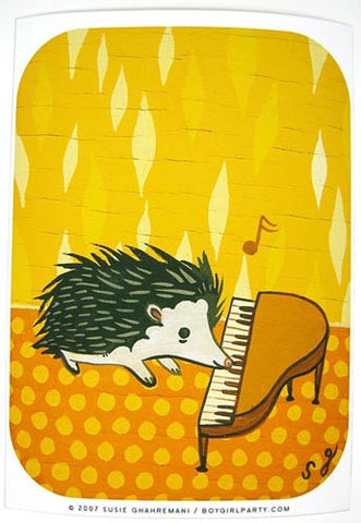 Hedgehog Piano Art Print by Susie Ghahremani / boygirlparty.com