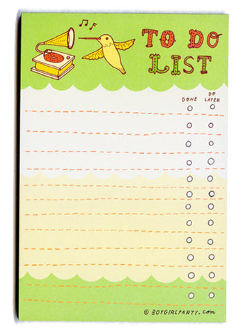 Hummingbird To-Do List Notepad by Susie Ghahremani / boygirlparty.com