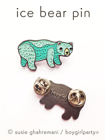 Ice Bear Enamel Pin - Bear Brooch Bear Pin by boygirlparty
