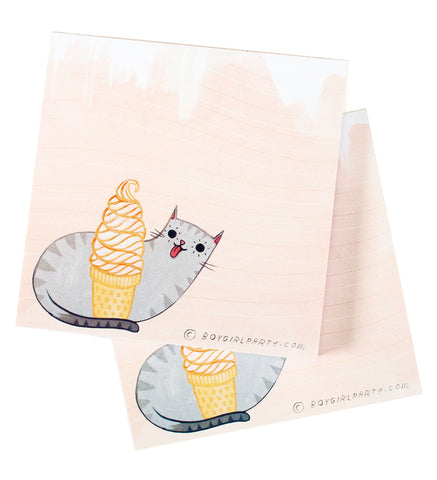 Ice Cream Cat Notepad by Susie Ghahremani / boygirlparty.com