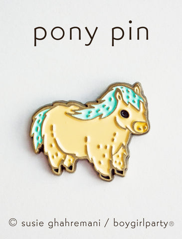 Icelandic Horse Enamel Pin - Miniature Horse Pin - Miniature Pony Enamel Pin by boygirlparty