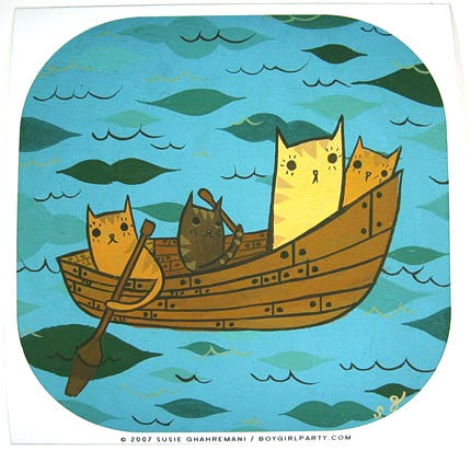 Cat Boat Art Print by Susie Ghahremani / boygirlparty.com