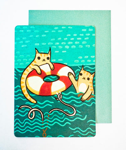 Lifesaver Cat Card (Thank You Card) by Susie Ghahremani / boygirlparty.com