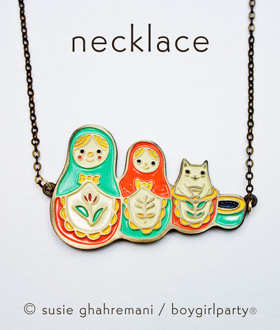 Matryoshka Cat Necklace - Russian Nesting Dolls Necklace - Matryoshka Necklace by boygirlparty