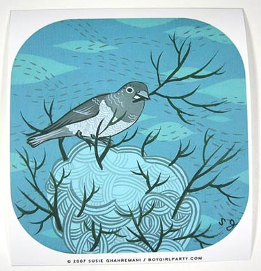 Maurice the Finch Art Print (Blue) by Susie Ghahremani / boygirlparty.com