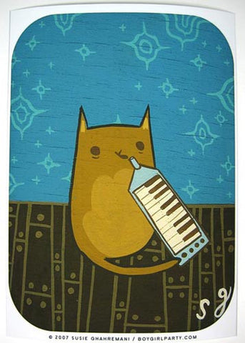 Melodicat Art Print (Signed) by Susie Ghahremani / boygirlparty.com