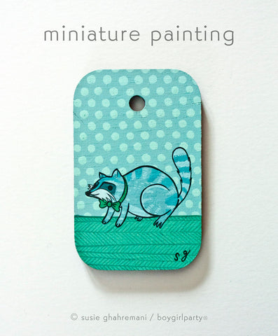 Fancy Raccoon Miniature Painting by Susie Ghahremani