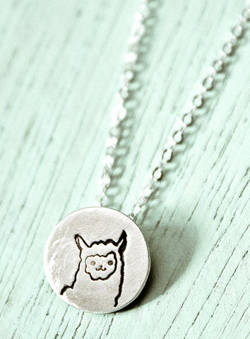 Miniature Llama Necklace (Sterling silver llama necklace) by Susie Ghahremani / http://shop.boygirlparty.com