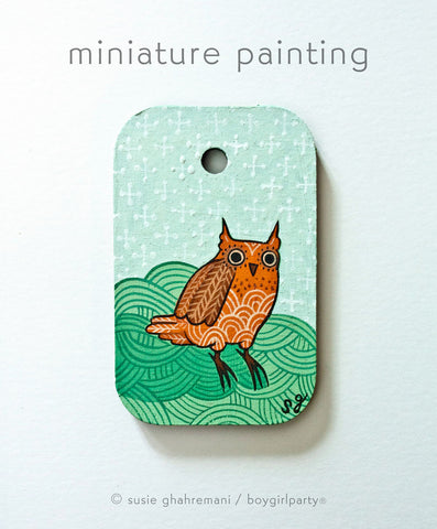 Owl Miniature Painting by Susie Ghahremani