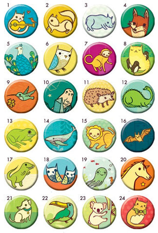 Miniature Menagerie Buttons - Mix and Match (Set of 4) by Susie Ghahremani / boygirlparty.com