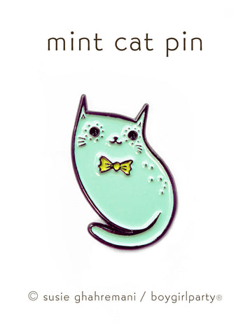 Limited Edition Pastel Cat Enamel Pin by Susie Ghahremani / boygirlparty.com