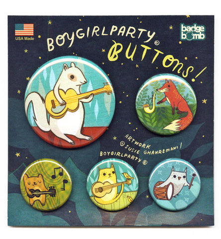 Music Animals Button Pack by Susie Ghahremani / boygirlparty.com