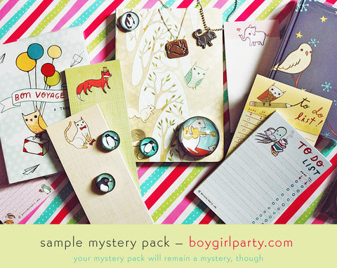 Calling all bargain hunters! Mystery pack at the boygirlparty shop: http://shop.boygirlparty.com