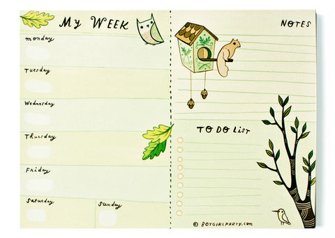 Weekly Planner Notepad (Green) by Susie Ghahremani / boygirlparty.com