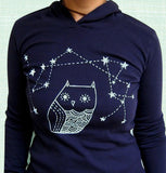 Navy Starry Owl Hoodie (Women's) by Susie Ghahremani / boygirlparty.com