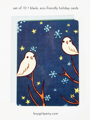 Blank Christmas Cards - Starry Night Owl Notecards (Set of 10) by Susie Ghahremani / boygirlparty.com