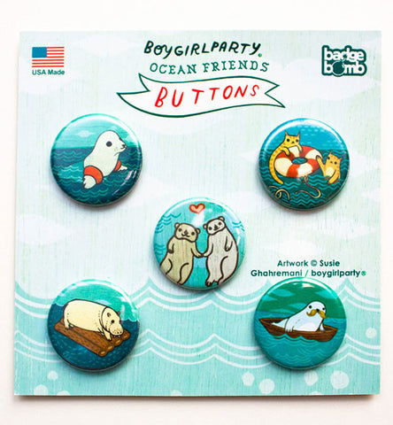 Ocean Friends Button Pack by Susie Ghahremani / boygirlparty.com