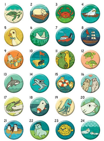 Ocean Friends Buttons - Mix and Match (Set of 4) by Susie Ghahremani / boygirlparty.com